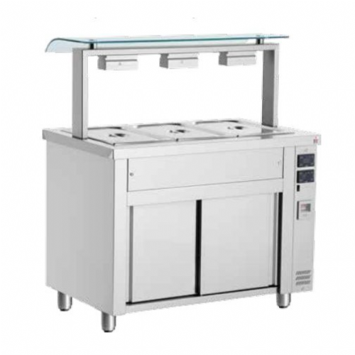 Inomak Gastronorm Bain Marie with Double Sneeze Guard MQV714
